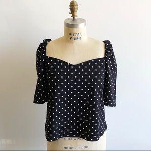 H&M Polka Dot Puff-Sleeved Blouse Top